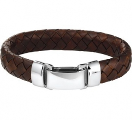Luxueuze Gevlochten Armband van Bruin Leer