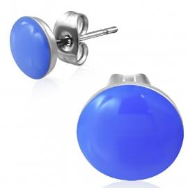 RVS Oorstekers met blauw kunsstof