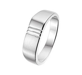Slanke Basic Ring voor Heren van Gepolijst met Mat Zilver / maat 18,5