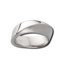 Edelstalen Ring van M&M met Gematteerde en Gepolijste Bewerking