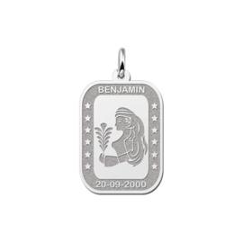 Rechthoekige Maagd Sterrenbeeld Hanger van Zilver