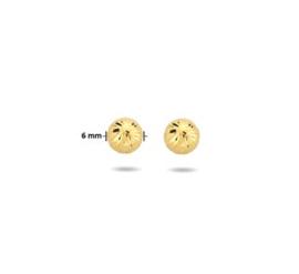 Gouden Oorknoppen Rond Gediamanteerd 6mm