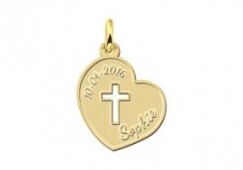 Names4ever Eerste Communie Gouden Hart met Kruis Hanger