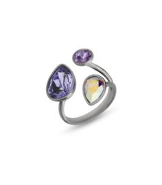 Swarovski Ring van Spark Jewelry met Paarse Swarovski Kristallen