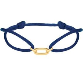 Donkerblauwe Satijnen Armband met Brede Gouden Schakel