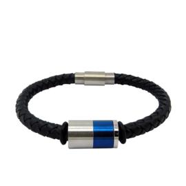Blauw Triple XS4M Heren Armband - Graveer Bedel