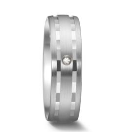 Matte Dames Trouwring van Zilver met Gepolijste Lijnen en Diamant