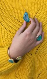 Ring met Aquablauwe Agaat Edelsteen van Sujasa