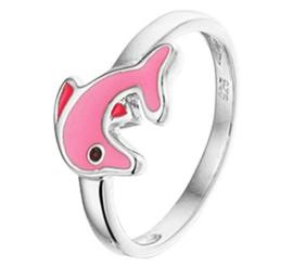 Gepolijste Zilveren Ring met Rhodium en Roze Dolfijn