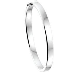 Vlakke Buis Graveer Bangle armband met Scharniersluiting