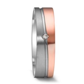 Matte Zilveren met Gepolijste Roségouden Dames Trouwring met Kleurloze Diamant