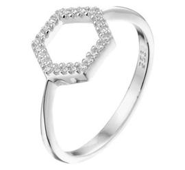 Zilveren Dames Ring Zeshoek met Zirkonia