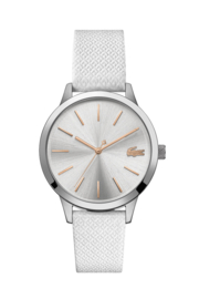 Lacoste Zilverkleurig 12.12 Dames Horloge met Wit Leder