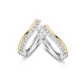 Excellent Jewelry Bicolor Golvende Creolen met Zirkonia's