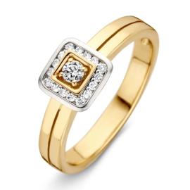 Excellent Jewelry Geelgouden Ring met Vierkant Diamant Kopstuk