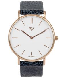 Prisma Horloge met Donkere Jaguar Print Lederen Horlogeband