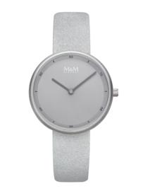 M&M Horloge met Zilverkleurige Kast en Lichtgrijze Horlogeband