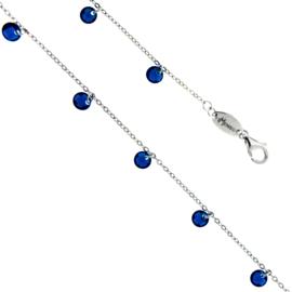 Luxe Zilveren Schakelarmband met Oceaanblauwe Zirkonia's