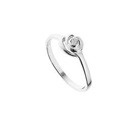 Zilveren Ring voor Kinderen met Rond Gelaagd Zirkonia Kopstuk