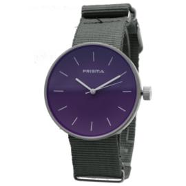 Prisma Basic Zilverkleurig Dames Horloge met Grijze Nylon Nato Horlogeband