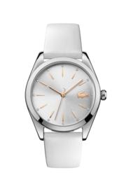 Lacoste Zilverkleurig Parisienne Dames Horloge met Wit Leder