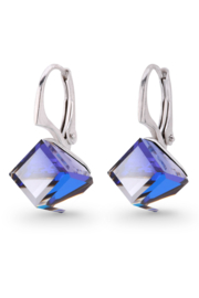 Kubus Blauwe Swarovski Oorbellen van Spark Jewelry