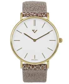 Opvallend Goudkleurig Horloge met Jaguar Print Lederen Horlogeband