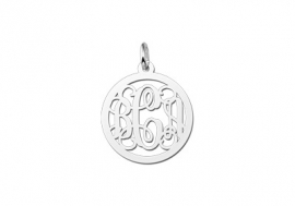 Names4ever Small Monogram Hanger van Zilver ZMH003