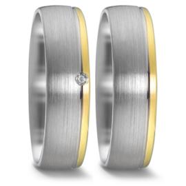 Matte Zilveren Trouwringen Set met Diamant