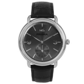 Zilverkleurig Edelstalen Heren Horloge met Zwarte Wijzerplaat en Zilverkleurige Cijfers