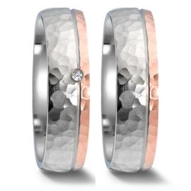 Gehamerde Zilveren met Roségouden Trouwringen Set met Diamant