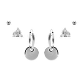 Karma Jewelry – Zesdelige Secret Sparkle Earparty Set - Zilver