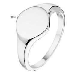 Zilveren Ronde Graveer Ring met Initiaal Letter Gravure