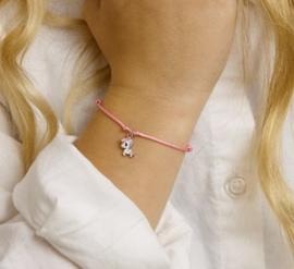 Gevlochten Roze Armband met Zilveren Eenhoorn Hanger