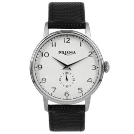 Rond Prisma Heren Horloge met Zwarte Horlogeband van Leder