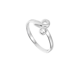 Zilveren Ring met Gekromd Uiteinde en Kleurloze Zirkonia / Maat 14,5