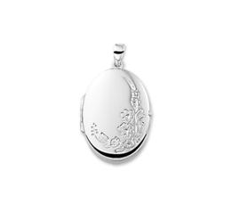Ovaal Foto Medaillon van Zilver met Bloemen Decoratie