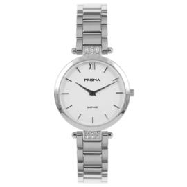 Fris Zilverkleurig Dames Horloge met Parelmoer en Zirkonia's van Prisma