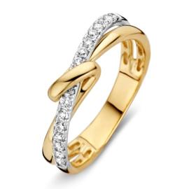 Excellent Jewelry Geelgouden Ring met Twist en Witgouden Strook