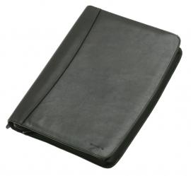 Zwarte schrijfmap in bruin leer