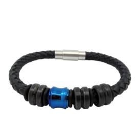 XS4M DISX Zwart Leren Armband met Zwarte en Blauwe Bedels
