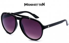 Manhattan Zwart Frame Zonnebril met Paarse Glazen