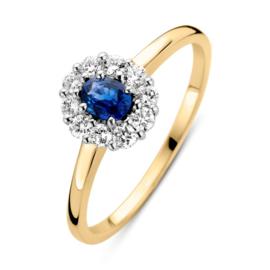 Excellent Jewelry Geelgouden Ring met 0,24 crt. Saffier Diamant