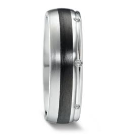 Bolstaande Zilveren Dames Trouwring met Carbon en Diamanten