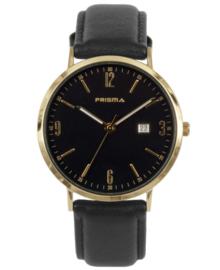 Goudkleurig Heren Horloge met Zwart Lederen Horlogeband en Zwarte Wijzerplaat