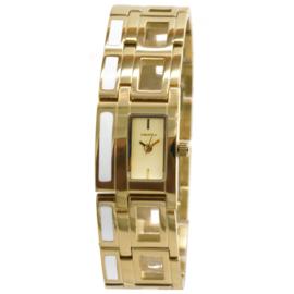 Prisma Klassiek Rechthoekig Dames Horloge met Goudkleurige Coating