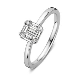 Excellent Jewelry Witgouden Ring met Vierkant Plaatje met Diamanten