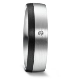 Brede Zilveren Dames Trouwring met Zwarte Carbon Rand en Diamant