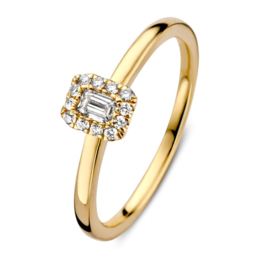 Excellent Jewelry Gouden Ring met Emerald Diamant Middensteen