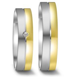 Gepolijste Zilveren met 9 Karaat Trouwringen Set met Diamant